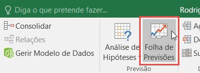 Botão Folha de Previsão no separador Dados