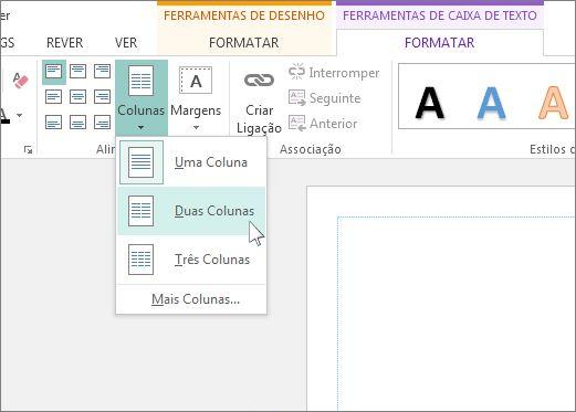 Captura de Ecrã das Colunas de Ferramentas da Caixa de Texto no Publisher.