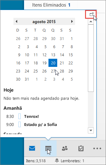 A opção Pré-visualizar calendário com o ícone Ancoragem realçado