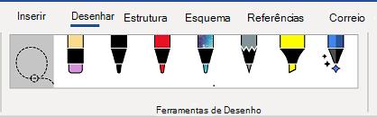 O separador Ferramentas de Desenho da fita Word.