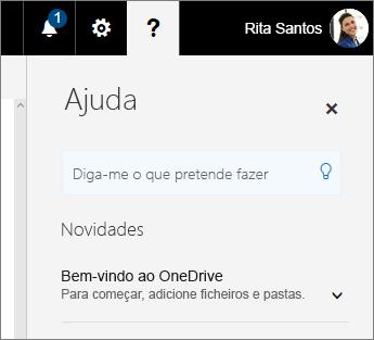 Painel Ajuda no OneDrive para Empresas
