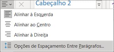 Captura de ecrã a mostrar as Opções de Espaçamento Entre Parágrafos no menu Base.