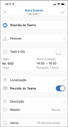 Novo Evento com botão de alternar para Reunião do Teams