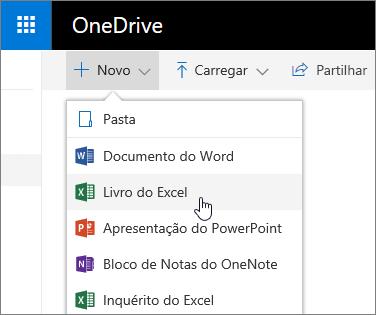 Menu Novo do OneDrive, comando Livro do Excel