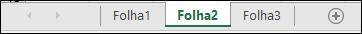 Separadores de folha de cálculo na parte inferior da janela Excel