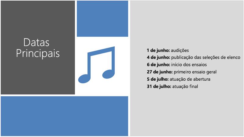 Exemplo de um diapositivo com uma linha cronológica de texto a que o estruturador do PowerPoint adicionou ilustração e toques de estrutura.