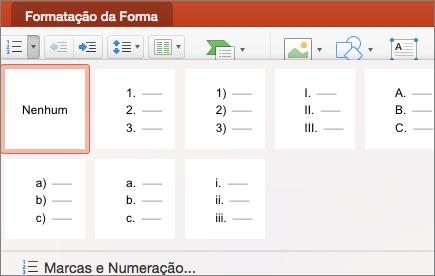 Captura de ecrã dos estilos de numeração disponíveis ao selecionar a seta no botão Numeração