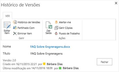 Caixa de diálogo de histórico de versão do SharePoint 2016