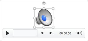 Controlo de áudio com o ícone altifalante selecionado