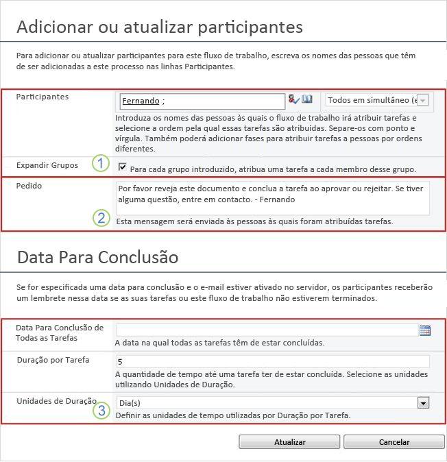 Formulário de alterações em tarefas futuras