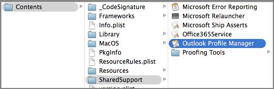 Mostrar conteúdos do pacote do Outlook