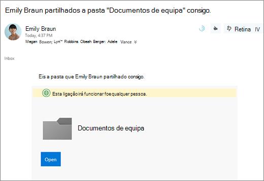 Enviar por correio eletrónico com a ligação para partilhar a pasta do OneDrive
