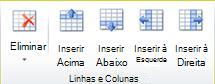 Grupo Linhas e colunas de tabelas no Publisher 2010