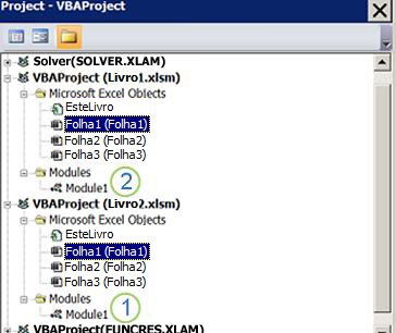 Project Explorer de VBA