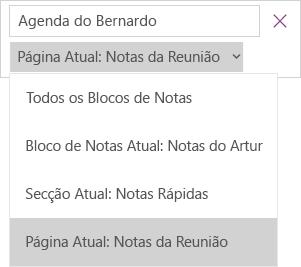 Mostra o menu pendente de pesquisa com opções de controlo do âmbito, a página atual está ativa.