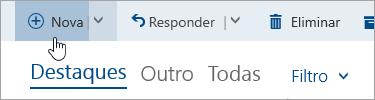Uma captura de ecrã do botão Escrever uma nova mensagem