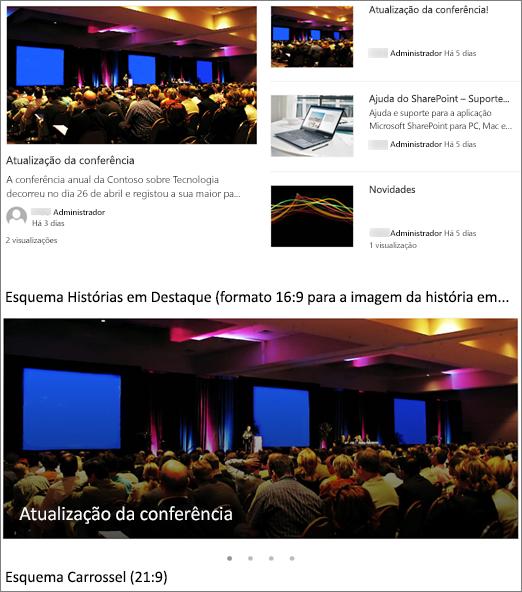 Notícias layouts exemplos de imagem