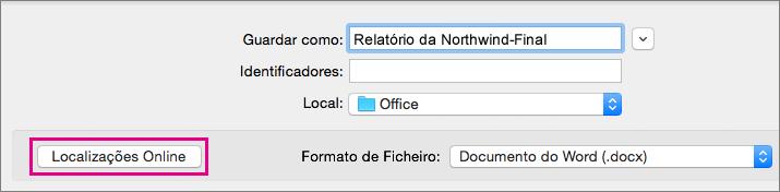 No menu Ficheiro, clique em Guardar Como e, em seguida, clique em Localizações Online para guardar um documento numa localização online.