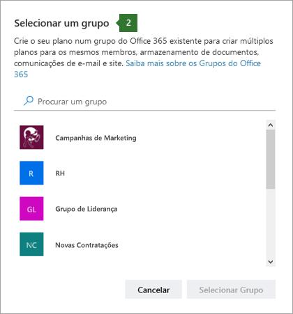 Imagem de ecrã da caixa de diálogo de grupo Escolha uma caixa de diálogo de grupo
