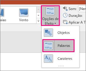 Mostra o menu Opções de Efeito para a Transição Modificação com Palavras selecionadas.