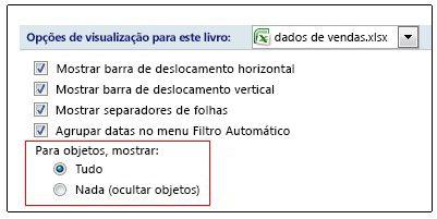 Opções para mostrar e ocultar objetos na caixa de diálogo Opções do Excel