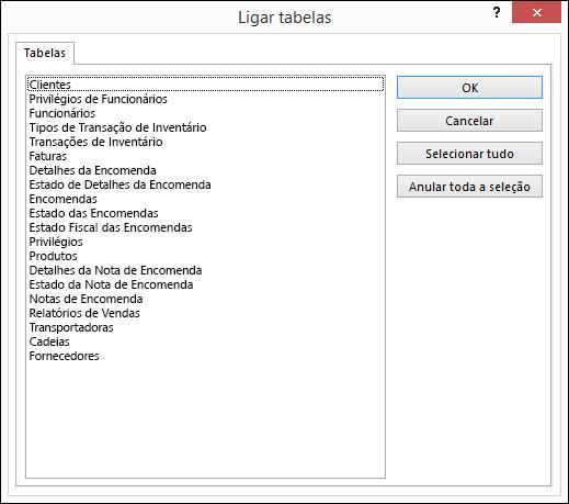 Selecionar uma tabela à qual ligar na caixa de diálogo Ligar Tabelas
