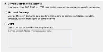 Selecionar Correio Electrónico da Internet