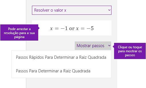 O botão Mostrar passos no painel de tarefas de símbolos matemáticos