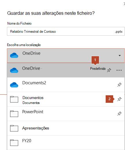 O diálogo de poupança no Microsoft Office 365 mostra uma lista de pastas.