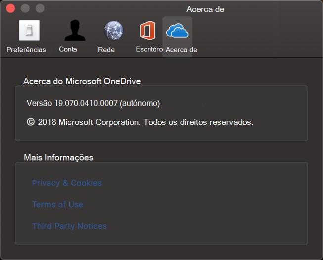 IU Sobre a Aplicação do OneDrive para Mac