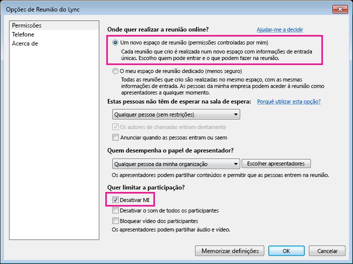 Captura de ecrã de como desativar MI na janela de opções numa Reunião do Lync