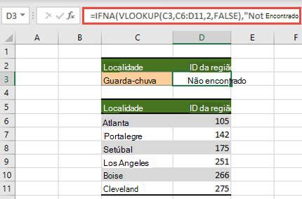 Imagem de utilização do Send com a função PROCV para impedir a apresentação de erros de #N de/A.