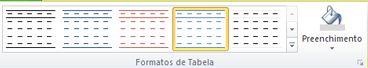 Interface da formatação de tabelas no Publisher 2010
