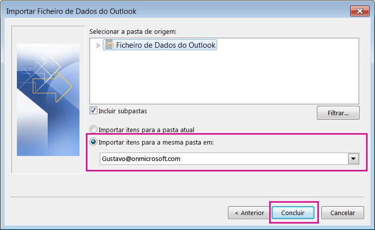 Selecione Concluir para importar o ficheiro PST do Outlook para a sua caixa de correio do Office 365.
