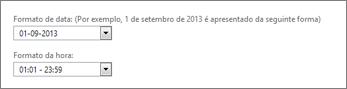 Definições de formatação de data e hora do Outlook Web App