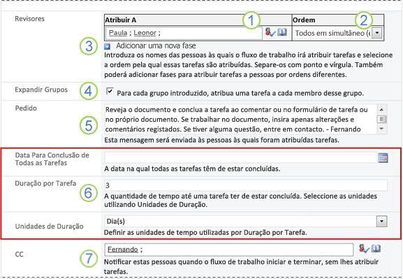 Formulário de iniciação com chamadas numeradas