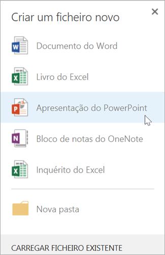 Criar uma nova apresentação do PowerPoint