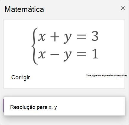 Uma equação de sistemas escrita com parênteses