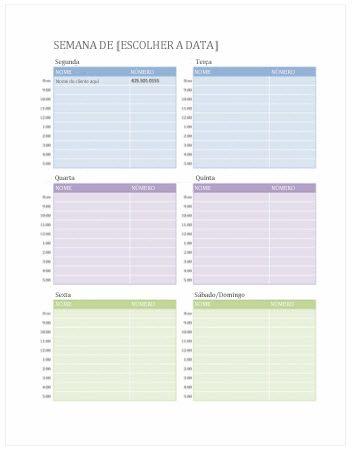 Calendário de Compromissos Semanais (Word)