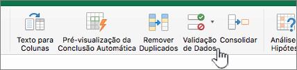 Menu de dados na barra de ferramentas do Excel com a Validação de Dados selecionada