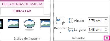 Iniciador da Caixa de Diálogo no grupo Tamanho do separador Formatar das Ferramentas de Imagem