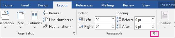 A seta para abrir a caixa de diálogo Parágrafo está realçada no separador Esquema.