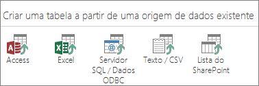 Seleções de origem de dados: Access, Excel, SQL Server/Dados ODBC, Texto/CSV, Lista do SharePoint.