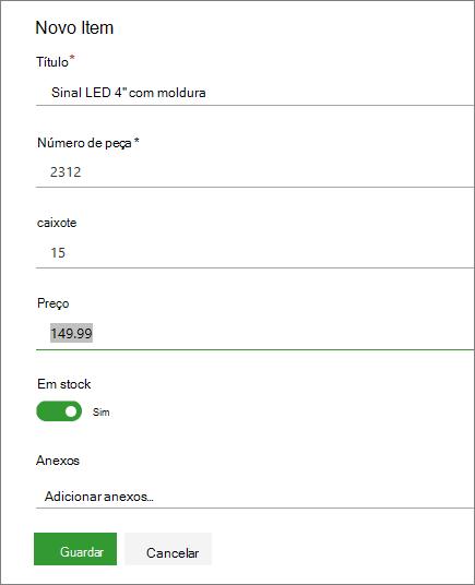 Formulário de item único para obter uma lista