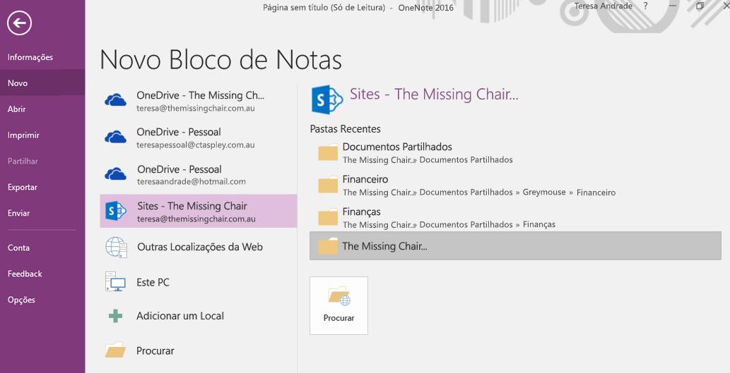 Interface de seleção de pasta para o Novo Bloco de Notas do OneNote para Windows 2016