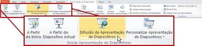 difusão de apresentação de diapositivos, no grupo iniciar apresentação de diapositivos, no separador apresentação de diapositivos no powerpoint 2010.