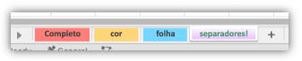 Captura de ecrã com separadores de folhas de cálculo com cores que cobrem todo o separador.