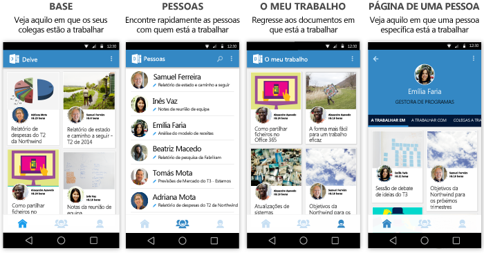 Ecrãs do Delve para Android