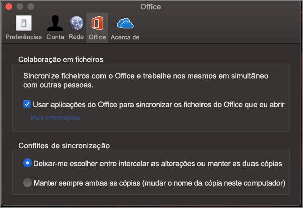 """Separador Office no Microsoft OneDrive com a opção """"sincronizar o Office"""" selecionada"""
