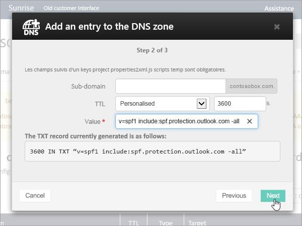OVH adicionar TXT para SPF de registo e selecione Next_C3_2017529102438